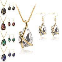 Diamond Crystal Drop Collana Orecchini Gioielli Set di gioielli Gold Cage Orecchio Polsino Pendente Chains Regalo di nozze per le donne 162486