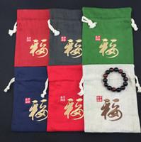 Chinese Fu kleine grote katoen linnen partij geschenk tassen sieraden pakket zakjes hoge kwaliteit trekkoord doek verpakking decoratieve opbergtas