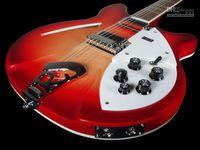 Personalizzato Ric Fire Glo Cherry Sunburst 360 12 corde Chitarra elettrica Semi corpo cavo Triangolo Madreperla Intarsio Tastiera Intarsio