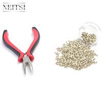 NAITSI 1000PCS Nano Ring без силикона + 1 шт. Слияние волос Удаление волос Удаленные плоскогубцы (красный) 5 Цвета для наногических волос