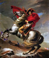 Napoleon Crossing the Alps on Gray Horse, Free Shipping, Hand-...