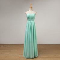 Mint Green Long A Line Bridesmaid Dress With Pleats 2018 Ele...