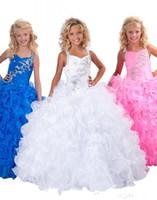 2014 Pageant Robes De Fille De Cristal Robe De Bal Halter Longueur De Plancher Organza Perlée De Volants De Robes De Fille De Fleur Bleue
