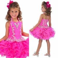 Glitz Halter Organza 소녀의 미의 대회 드레스 꽃 공주 백리스 짧은 미니 크리스탈 공 가운 컵 케이크 아이 드레스 RGB212
