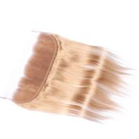 실키 스트레이트 꿀 금발 귀에 귀에 전체 레이스 정면 13x4 아기 머리카락 말레이시아 인간의 머리카락 레이스 정면 클로저 # 27 Strawbery Blonde