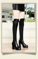 Elastic high- heeled female thigh- high boots 2016 new winter ...