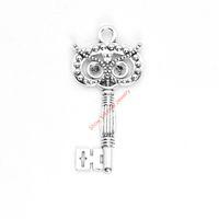 4pcs antico placcato argento gufo chiave pendenti di fascini per il braccialetto creazione di gioielli fai da te collana artigianale 60x30mm