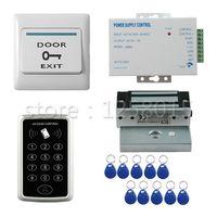 DIY 125 KHz RFID Siyah Denetleyici Erişim Kontrol Kiti tek kapı kontrolü için + 60 kg manyetik kilit + kapı anahtarı + güç + 10 anahtar fob