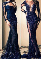 Zuhair Murad Long Evening Dresses Long Sleeves Applique Bead...