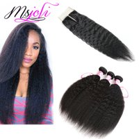human hair bundles with lace closure kinky straight hair Bra...