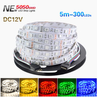 5M 5050 SMD RGB LED Strip Flexible 16FT 5M 300 LEDs multi color Non-Waterproof led strip light high power 72W christmas halloween party