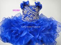 2021 Neueste Ballkleid Royal Blue Organza Kinder Kleine Mädchen Pageant Kleider Geburtstag Blumenmädchenkleider