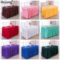 Meijuner 180X60X75cm Hot Hôtel Salle de conférence Table Jupe Polyester banquet de mariage Table couverture Accueil Table Cloth