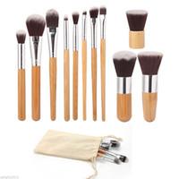 11 unids maquillaje pinceles herramientas de cosméticos mango de bambú natural sombra de ojos cosmético maquillaje pincel set blush soft cepillos kit con bolsa