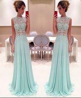 매력적인 레이스 댄스 파티 드레스 긴 라이트 스카이 블루 높은 목 레이스 아플리케 환상 톱 바닥 길이 쉬폰 저렴한 저녁 파티 드레스