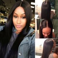 브라질 인간의 머리카락 실크 탑 전체 레이스 가발 똑바로 흑인 여성을위한 아기 머리를 가진 똑 바른 털이없는 실크베이스 레이스 프런트 가발