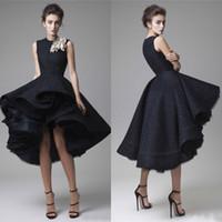 Григор Jabotian высокая низкая черный кружево вечерние платья 2016 Модест Jewel тюль Паффи короткие высокого низкая выпускного вечера платья на заказ Китай EN6279