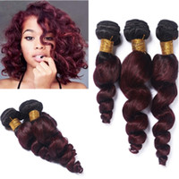 Nueva llegada Dark Root Two Tone Burgundy Paquetes de cabello humano # 1B 99J Extensiones de cabello humano de Malasia Ombre Hair Weaves For Black
