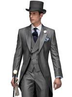 2018 hohe Qualität Bräutigam Smoking Frack Hochzeitsanzug Für Männer Mode Hochzeit Smoking Prom Anzüge (jacke + weste + hose)