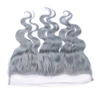 الفضة رمادي الماليزي الأذن إلى الأذن frontals الدانتيل الكامل 13x4 مع شعر الطفل موجة الجسم الرباط أمامي اختتام رمادي اللون النقي عقدة ابيض
