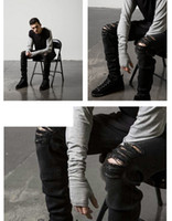 High Street Zerrissene Jeans Mens Fashion Cool Black Knee Holes Design Bleistift-Hosen nehmen passende Hose Kleidung