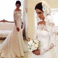 2019 Свадебные платья с кружевными рукавами и длинными рукавами с открытыми плечами Элегантные платья больших размеров с русалкой на заказ
