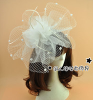 Beige Cute Wedding Hats With Dot Mesh White Wedding Hat with Veil Bridal Hat Lady's Hat for the Party New 2016