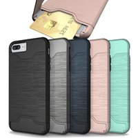 Card Slot Case For iPhone X 8 Armor case hard shell back cov...