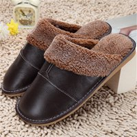 Winter Warm Home Slippers Couples Genuine Cow Leather Leisur...