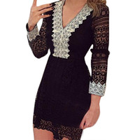 S5Q Mulheres Elegante Casual Cocktail Sexy V Neck Lace manga comprida Evening Party Dress AAAGCT