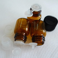 New Arrive 50 Pcs 1 ML Free Shipping High Quality (16*21) Amber Glass Essential Oil Bottle, Pull Stopper Orifice Reducer & cap