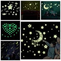 Romantic Night luminous glow in dark wall stickers 3D pvc wa...