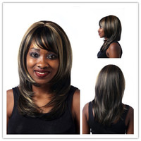 Xiu Zhi Mei 40 cm em linha reta marrom escuro destaca no cabelo resistente ao calor sintético parte do meio comprimento do ombro perucas das mulheres com estrondo