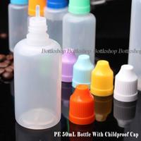 لينة نمط LDPE E زجاجات السائل 50ML زجاجات البلاستيك القطارة مع قبعات حريزعلى الأطفال الملونة وطويلة رقيقة تلميح لعصير E