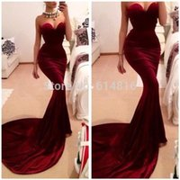 Sexy Burgundy Mermaid Evening Dresses Women Long Train Flatt...