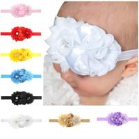 Baby Stirnbänder Blumen Chiffon Rose Stirnband Kinder Strass Elastische Haarbänder Mädchen Prinzessin Kopfschmuck Kinder Haarschmuck Kha171