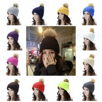 1370a8e18 Fashion No Eaves Caps Faux Rabbit Fur Pompon Wool Line Hat Crochet Knitting  Beanie For Women 6 8bd B