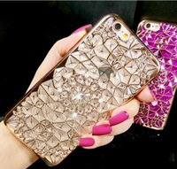 100PCS 높은 품질의 3D 모조 다이아몬드 전기 도금 아이폰 6 6plus 아이폰 7 7plus 소프트 도금 TPU 케이스를위한 꽃 디자인 전화 케이스 장미