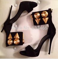 2020 Yeni Varış Kadın Moda Yüksek Topuklu Yaz Ayakkabı Siyah Gemstone ile Siyah Süet Deri Sandalet