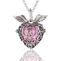 Corazón Fresa Sonido perla jaula medallones Collares pendientes Apertura Flotante de sonido Grano Collar de medallones Para mujer embarazada Joyería