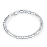 5mm large 20cm 925 argent bracelet classique bracelets bracelets plat serpent chaîne bracelet mode masculine de beaux cadeaux pour amant dame bijoux