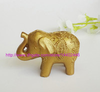 200 sztuk Golden Gold Lucky Elephant Place Uchwyt Posiadacza Posiadacz Nazwa Numer Tabela Place Wedding Favor Prezent Unikalny Party Favors.