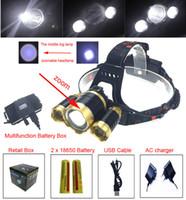 8000Lm 3 * XM-L T6R5 4 모드 Led 헤드 램프 줌이 가능한 헤드 라이트 빛 linternas frontales cabeza 캠핑 + AC 충전기