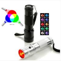 新しい到着LED RGBの色変更トーチ懐中電灯、3Wアルミ合金RGBエジソンマルチカラーLED懐中電灯の色の虹