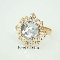 10 sztuk Piękny styl Vintage Styl musujące Gemstones Złoto Plated Pierścionki Serwetki Wedding Bridal Shower Serwetki - Darmowa wysyłka