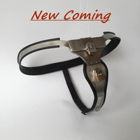 New design EMCC New Female Adjustable Model-T Stainless Steel Chastity Belt with Locking Cover and pad lock for women sex SM bondage