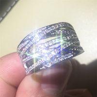 Luksusowy Wysokiej Jakości Autentyczne 14kt Białe Złoto Wypełnione pierścienie z Pave Symulowane Diament Kompatybilny Fit Pandora Pierścionki Europejskie Kobiety Mężczyzn Styl