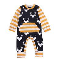 2016 herbst Neugeborenen kinder gestreiften Hirsch Strampler Baby Mädchen Jungen Kleidung Strampler Overall Outfits einteilige 0-2 T