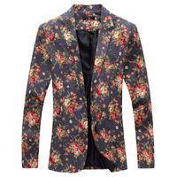 Toptan-Mens Kraliyet Kırmızı Çiçek Blazer Ince Gömme Parti Tek Göğüslü Blazers Erkekler Bir Düğme Takım Elbise Ceket Sahne Kostümleri Şarkıcılar Için