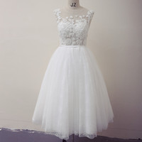 Capped Backless Tulle Beach Wedding Dress With Lace Applique...